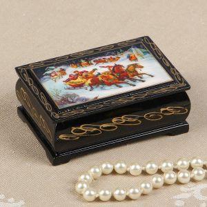 Шкатулка «Деревенские гуляния», 6?9 см, лаковая миниатюра 2664006