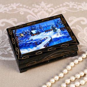 Шкатулка «Домики в снегу», 8?10 см, лаковая миниатюра 4815068