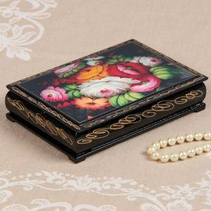 Шкатулка «Жостово», 11х16 см, лаковая миниатюра 2431109