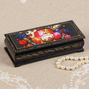 Шкатулка «Жостово», 14?6 см, лаковая миниатюра 2570574