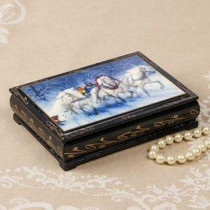 Шкатулка «Зимняя тройка», 10?14 см, лаковая миниатюра 2407431