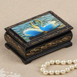 Шкатулка «Лебеди», 6х9 см, лаковая миниатюра 2431131