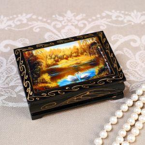 Шкатулка «Лебеди», 8?10 см, лаковая миниатюра 4815065