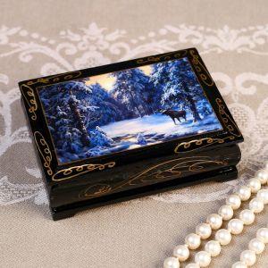 Шкатулка «Лось в лесу», 8?10 см, лаковая миниатюра 4815069