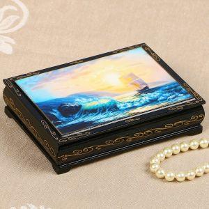 Шкатулка «Морской берег», 10?14 см, лаковая миниатюра 2407439