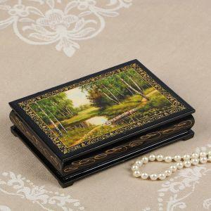 Шкатулка «Мостик через ручей», 11?16 см, лаковая миниатюра 2314285