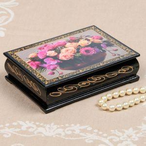 Шкатулка «Орхидеи с розами», 10?14 см, лаковая миниатюра 2314257