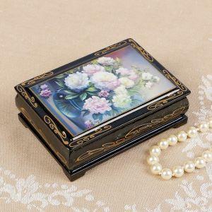 Шкатулка «Пионы в вазе», 8?10 см, лаковая миниатюра 2407400