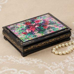 Шкатулка «Полевые цветы в вазе», 10?14 см, лаковая миниатюра 2566811