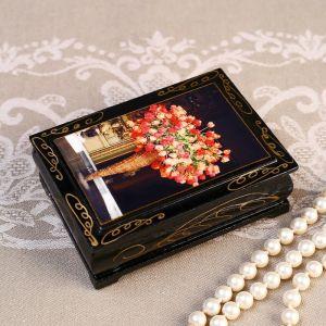 Шкатулка «Розово-желтые цветы в корзине», 8?10 см, лаковая миниатюра 4815064