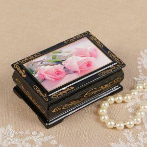 Шкатулка «Розовые розы», 6?9 см, лаковая миниатюра 2407369