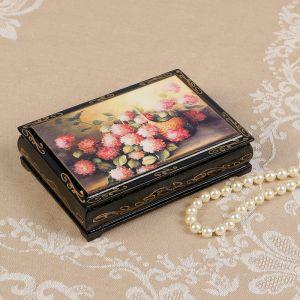 Шкатулка «Розовые цветы в корзине», 10?14 см, лаковая миниатюра 2407425