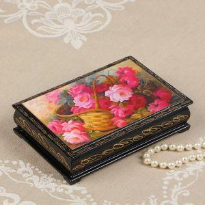Шкатулка «Розовые цветы в корзинке», 11?16 см, лаковая миниатюра 2664001