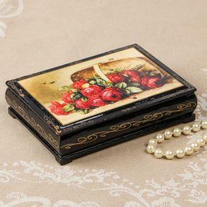 Шкатулка «Розы в корзинке», 10?14 см, лаковая миниатюра 2407423