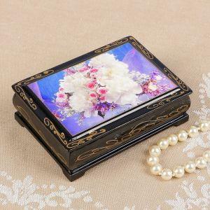 Шкатулка «Розы с белыми цветами», 8?10 см, лаковая миниатюра 2407398