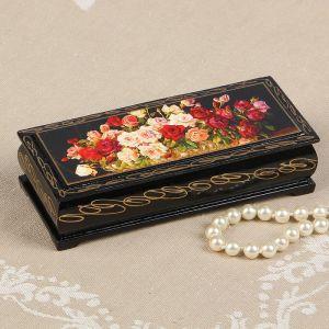 Шкатулка «Розы», 14?6 см, лаковая миниатюра 2570571