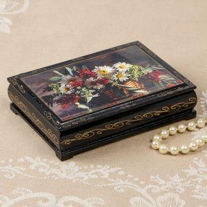 Шкатулка «Ромашки с ягодами в корзине», 10?14 см, лаковая миниатюра 2407426