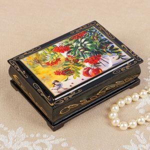 Шкатулка «Рябина на окне», 8?10 см, лаковая миниатюра 2407403