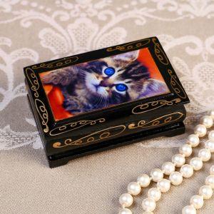 Шкатулка «Серый котенок», 6?9 см, лаковая миниатюра 4815070