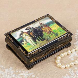 Шкатулка «Три богатыря», 8?10 см, лаковая миниатюра 2407415