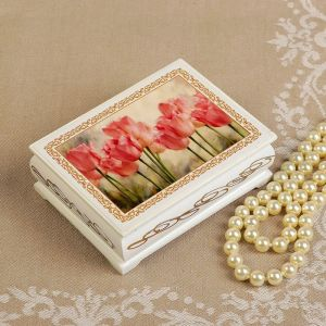 Шкатулка «Тюльпаны», белая, 8?10,5 см, лаковая миниатюра 3696450