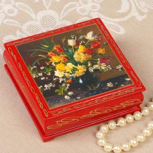 Шкатулка «Цветы в вазе», красная, 10х10 см, лаковая миниатюра 3579572