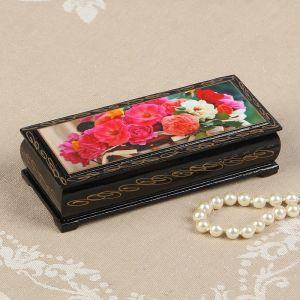 Шкатулка «Цветы в корзинке», 14?6 см, лаковая миниатюра 2570572