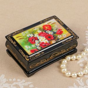 Шкатулка «Цветы», 6?9 см, лаковая миниатюра 2407377