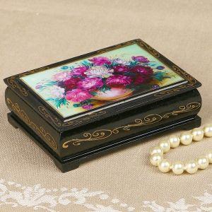 Шкатулка «Цветы», 8?10 см, лаковая миниатюра 2407402