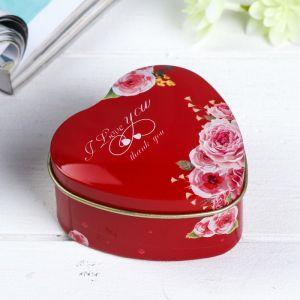 "Шкатулка металл сердце ""Розы на красном"" 4х7х7 см   4676160"