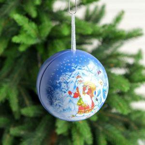 """Шкатулка-подвеска железная """"Дед Мороз"""" синий диам. 10,8 см   4682880"""