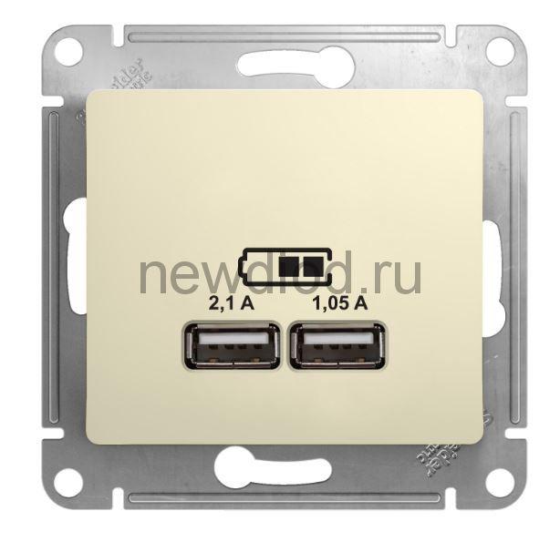 GLOSSA USB РОЗЕТКА, 5В/2100мА, 2х5В/1050мА, механизм, БЕЖЕВЫЙ