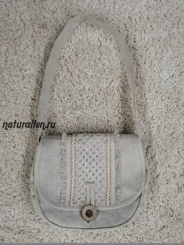 Льняная сумка ручной работы полукруглая с кружевом