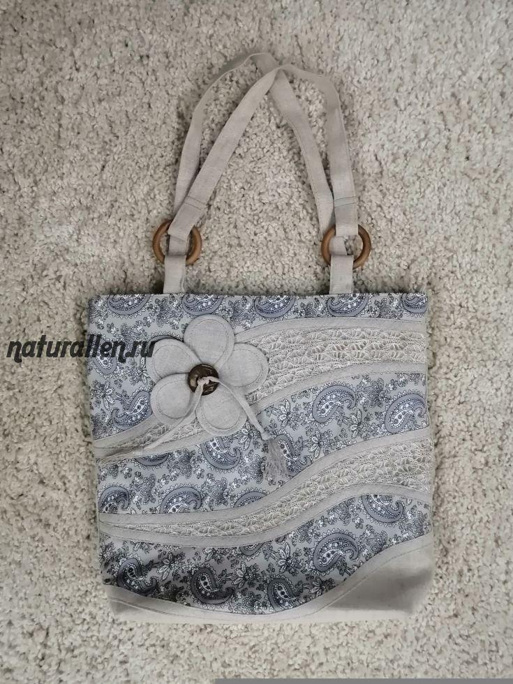 Льняная сумка пляжная