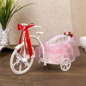 """Корзина декоративная """"Велосипед с кашпо и розовым бантиком"""""""