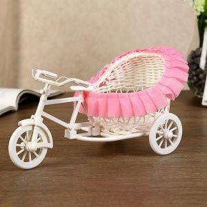 """Корзина декоративная """"Велосипед с коляской"""" розовые рюши 14х24х14 см   4357383"""
