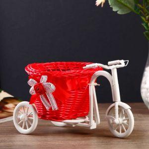 """Корзина декоративная """"Велосипед с красным вазоном"""", d=11.5 см"""