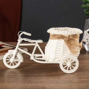 """Корзина декоративная """"Эко-лайф"""" велосипед с вазоном 11,5х23х12 см 2735142"""