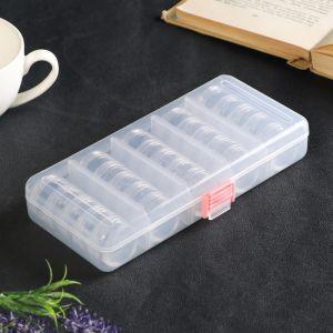 """Шкатулка пластик для мелочей """"Круг"""" прозрачная набор 20в1 3,3х8,5х18,5 см   4768281"""