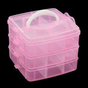 """Шкатулка пластик для мелочей """"Ящичек"""" МИКС 3 яруса 13х15,5х15 см 2301113"""