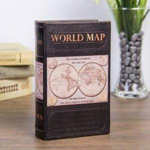 "Сейф-книга дерево ""Карта мира"" кожзам 17х11х5 см   3622207"