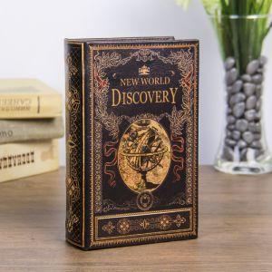 """Сейф-книга дерево """"Открытие нового мира"""" кожзам 17х11х5 см   3622199"""