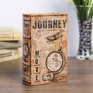 """Сейф-книга дерево """"Путешествие по жизни-это чудесное путешествие"""" кожзам 17х11х5 см   3622197"""