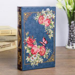 "Сейф-книга дерево ""Ретро. Цветы. Бабочки"" кожзам 21х13х5 см   3622219"