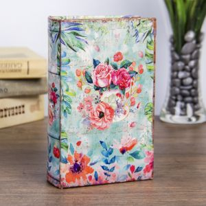 """Сейф-книга дерево """"Цветы, нарисованные акварелью"""" кожзам 17х11х5 см   3622210"""