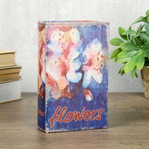 """Сейф-книга дерево кожзам """"Орхидеи. Акварель"""" 17х11х5 см   4070222"""