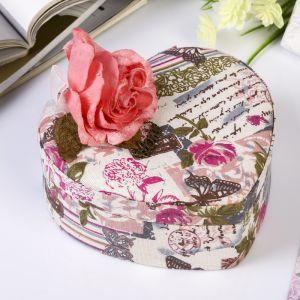 """Шкатулка текстиль для украшений """"Бутон розы"""" сердце 6,5х19х20,5 см   3905380"""