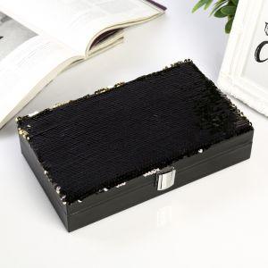 """Шкатулка текстиль для украшений """"Пайетки"""" чёрная прямоугольная 6х25,5х14,5 см   3905399"""