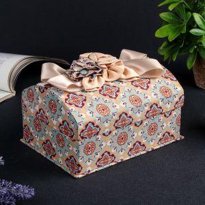 "Шкатулка ткань для украшений ""Сундучок с пышным бантом"" 10,5х20х14,5 см 2541185"