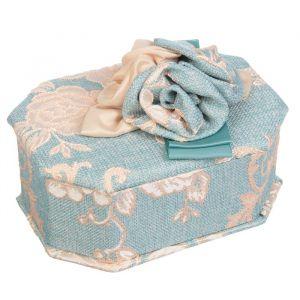 """Шкатулка ткань для украшений многогранник """"Розочки на синем"""" 10х17х13 см 3094171"""